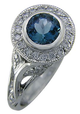 Custom Made Elegant Aquamarine Diamond Ring
