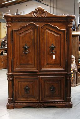 Custom Made Concha Mesquite Armoire