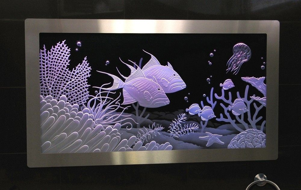 Hand Made Illuminated Carved Etched Glass Built In