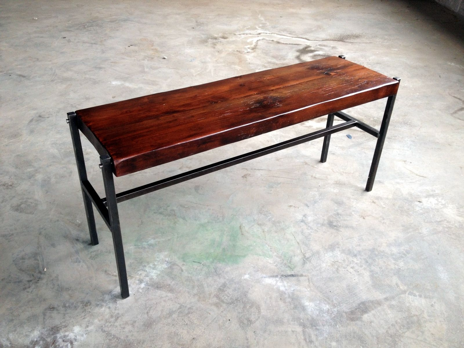 Handmade Reclaimed Wood Bench With Iron Legs By Shellback Iron Works