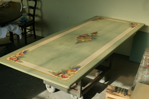 Custom Made Custom Painted Lite Green Farm Table With Floral Design