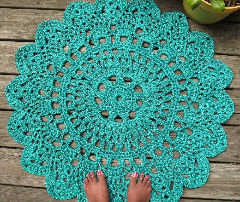 Hand Crafted Turquoise Patio Porch Cord Crochet Rug In 35