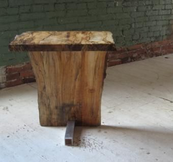 Custom Made Live Edge Spalted Maple Side Table