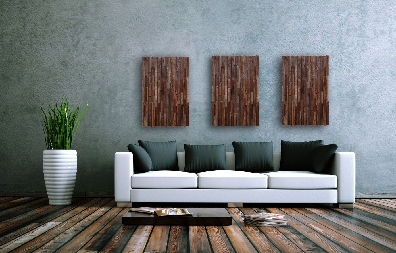Hand Crafted Reclaimed Wood Wall Art 3 Peice Set 16 By