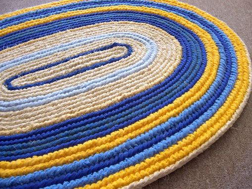 Custom Made Oval Rag Rug Woven Toothbrush Yellow And Blue Naalbinding Rug