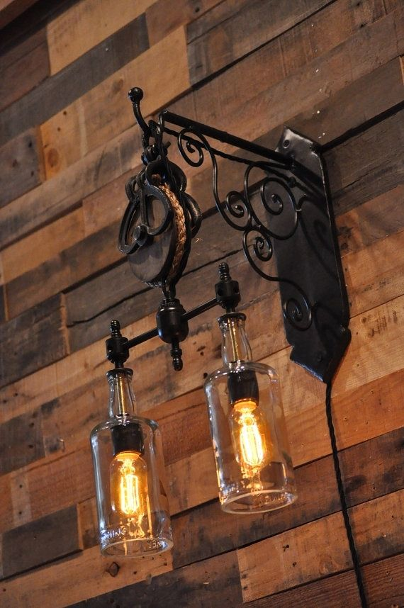 Hand Crafted Recycled Wine Bottle Liquor Bottle Hanging Pendant Sconce Steampunk Chandelier With ...