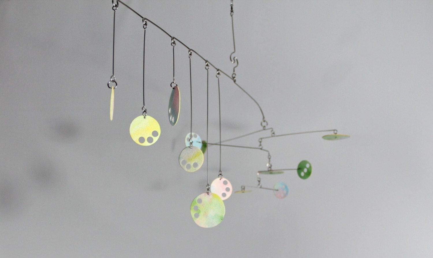 Custom Pastel Mobile Circle Play Kinetic Mobile Sculpture Calder Style By Skysetter