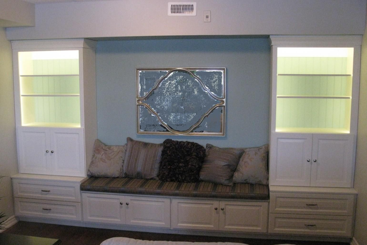 Hand crafted contemporary built in bench seat and storage display