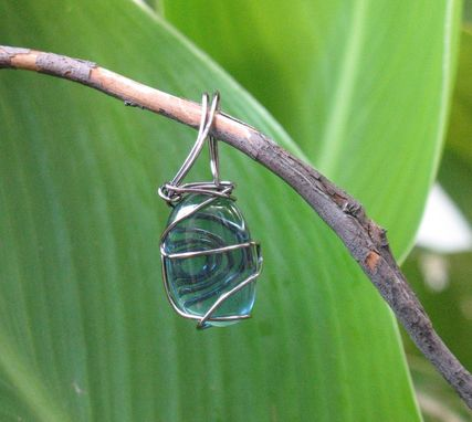 Custom Made Blue Glass Wire-Wrapped Pendant