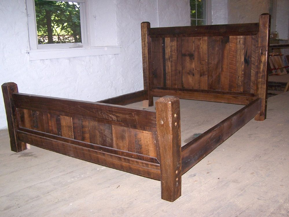 antique oak wood queen size rustic bed frame with beveled posts