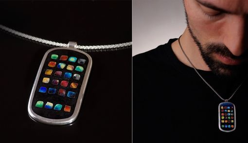 Custom Made Iphone Pendant - Cloisonné Enamel Dog Tag Pendant