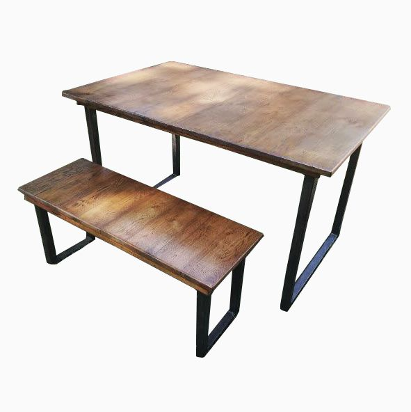 Reclaimed Wood Coffee Table Stainless Steel Legs: Buy Handmade Reclaimed Wood Table And Bench With Steel