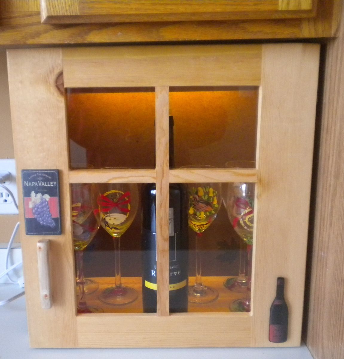 Light Pine Kitchen Cabinets: Hand Made Light Up Wine Cabinet Made Of Reclaimed Pine By