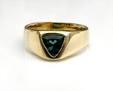 Custom Made Men's Blue Tourmaline Ring In 14k Gold
