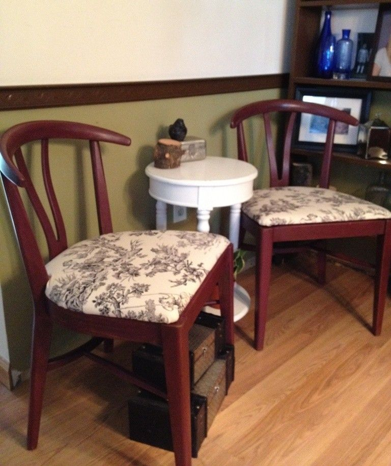 handmade vintage wishbone chairs toile covered seats set of two by vintage hip decor. Black Bedroom Furniture Sets. Home Design Ideas