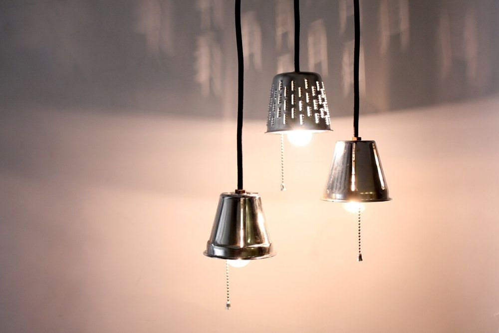 Handmade Industrial Pendant Lights Repurposed Grater Lamps Upcycle Kitc