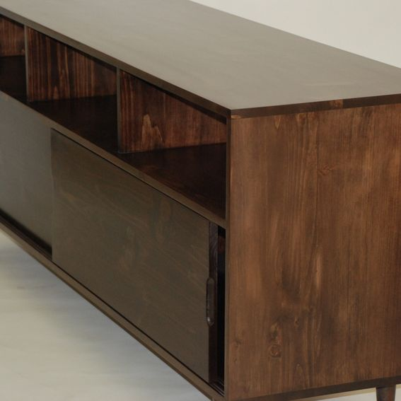 Custom Made Mid Century Media Console Latte Pine By