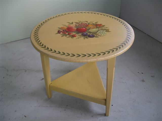 Hand Made Painted Round End Table By Ecustomfinishes