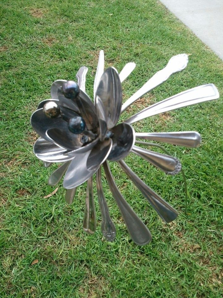 Hand Crafted Metal Spoon Flower Garden Art By Jd