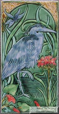 Custom Made Great Blue Heron Art Tile