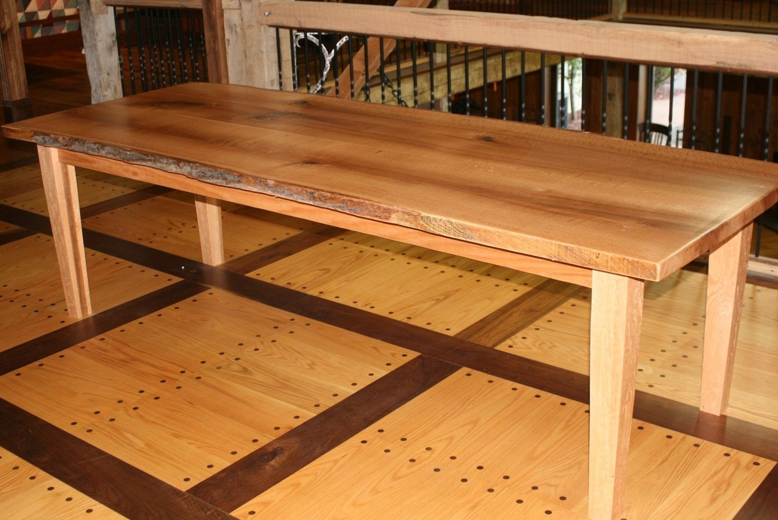 Custom Live Edge Quartersawn Red Oak Slab Dining Table By