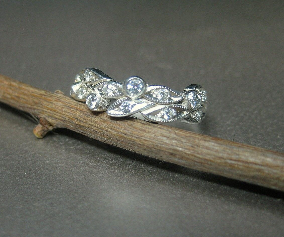 Hand Crafted Leaf Engagement Ring Wedding Ring 14k White Gold Leaves With Diamonds By Valerie