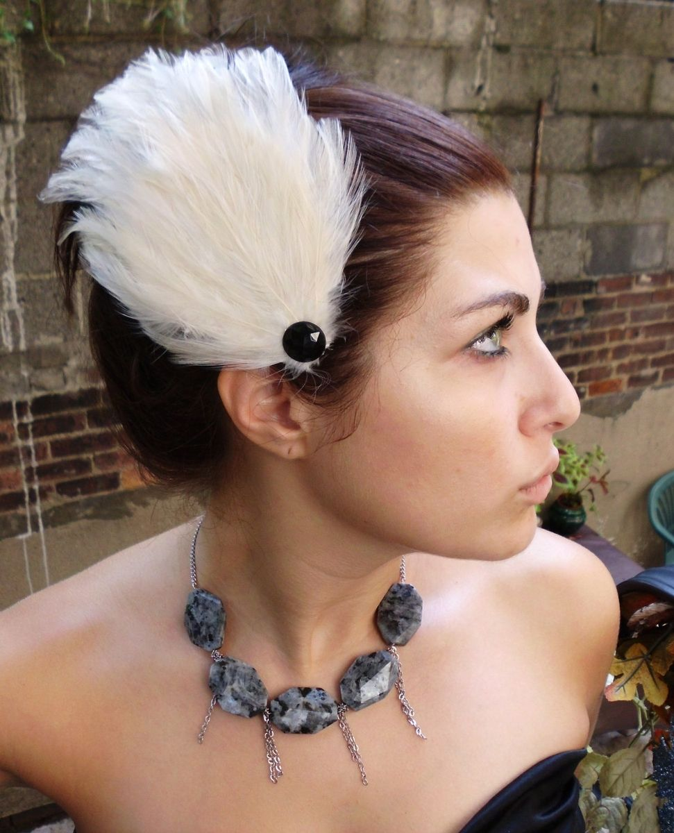 Sale Black Swan Feather Hair Fascinators Set of 2 White Feathers