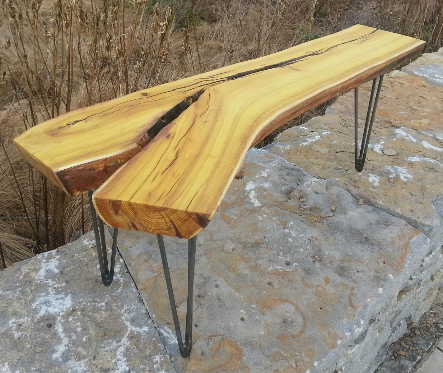 Custom made osage orange live edge coffee table modern rustic natural edges hairpin legs by Live wood coffee table