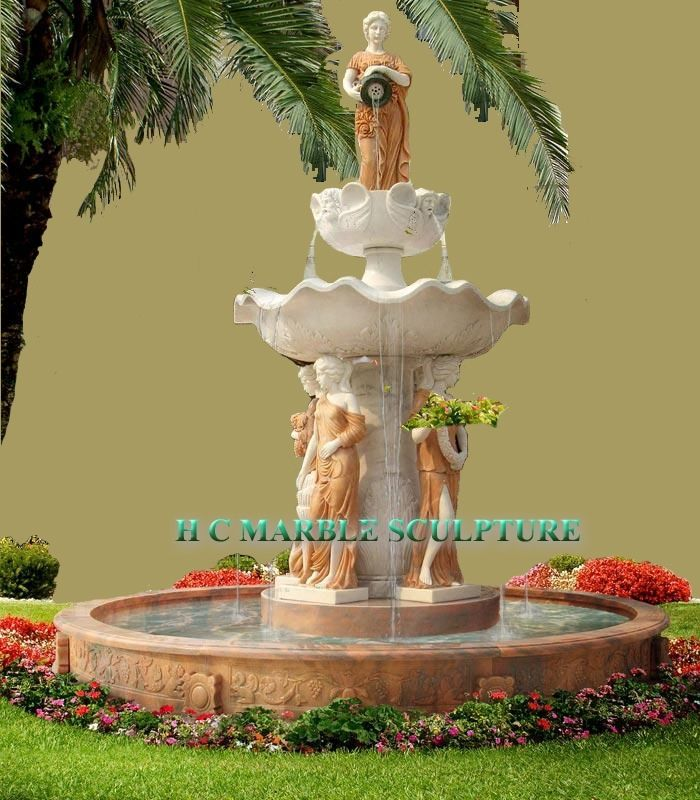 Hand Made Four Seasons Maiden Statues Marble Fountain By