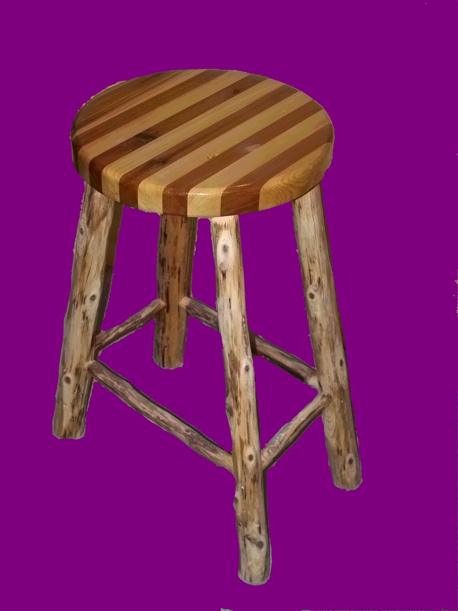 Hand Made Cedar Bar Stool By The Jack Pine Harry