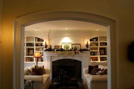 Custom Made Fireplace Mantle, Surround, And Bookcase
