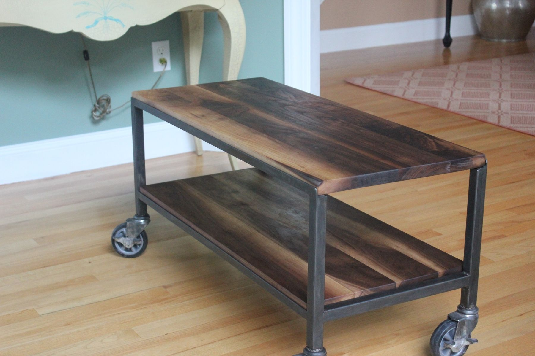 Custom Made 2 Tier Coffee Table On Casters By Harvest Home Steel