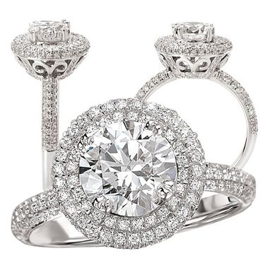 Custom Made 18k White Gold Diamond Engagement Ring Semi-Mount, Holds A 7.5mm Round