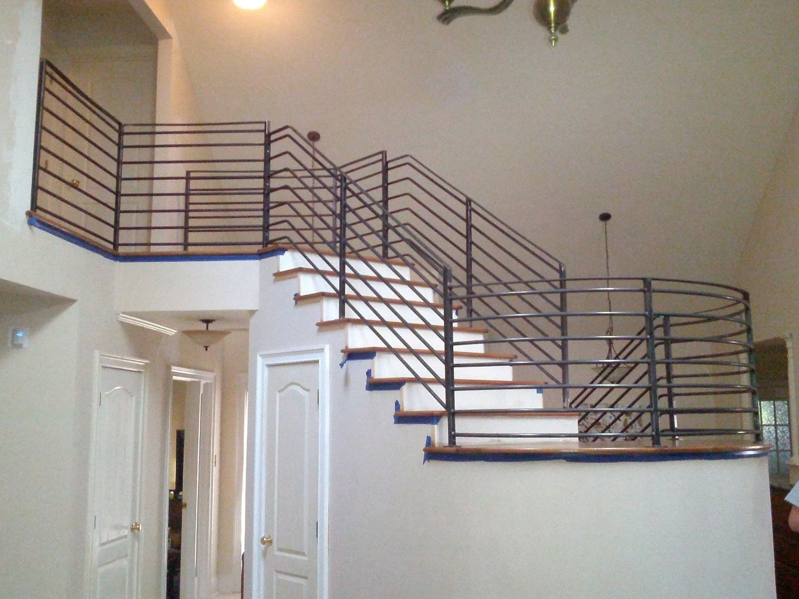 Custom interior stair railing by metal fabrication and - How to install interior stair railings ...
