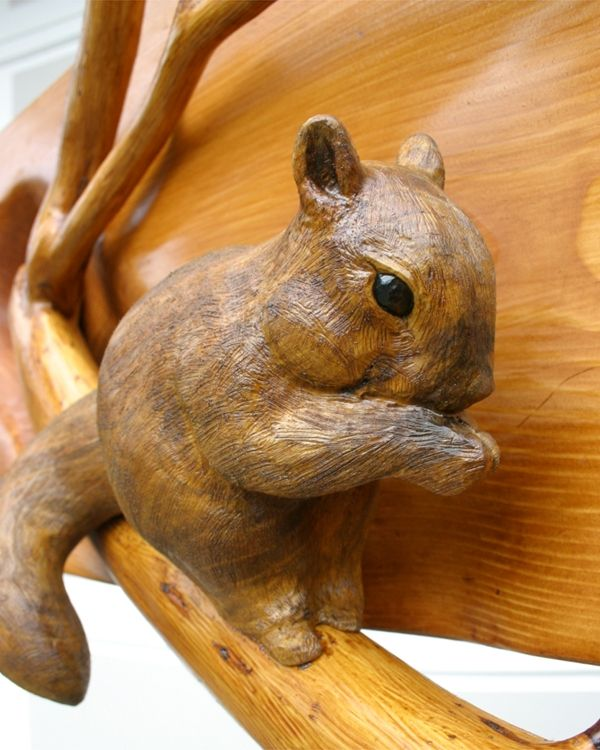 Hand Made Wood Carving Quot Squirrel On Branch Quot By Mk Carving