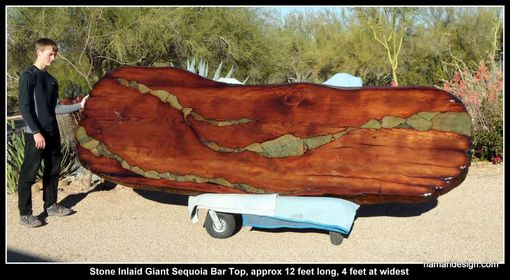 Custom Made Live Edge Wood Slab Giant Sequoia / Redwood Bar With Stone Inlay