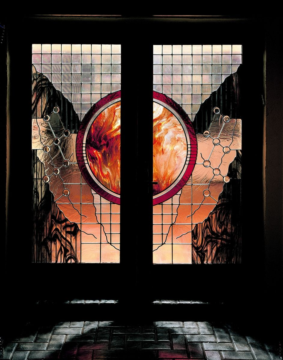 Custom made stained glass entry with mouth blown center for Contemporary stained glass