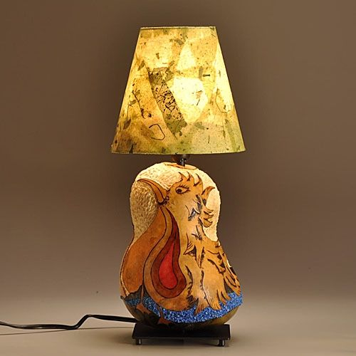 Hand Made Gourd Lamp Love Bird Design By Gourgeous