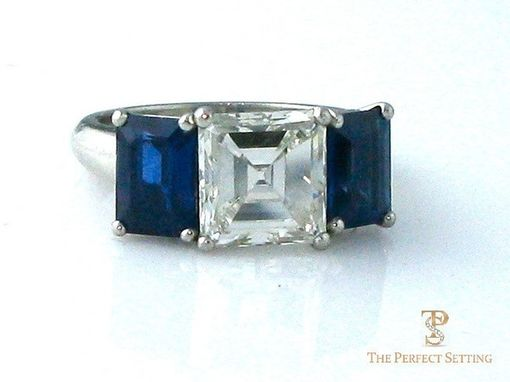 Custom Made Three Stone Diamond & Sapphire Ring