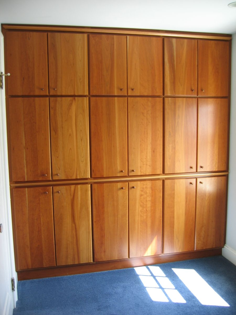 Hand Made Built In Closet Wall With Solid Cherry Doors By