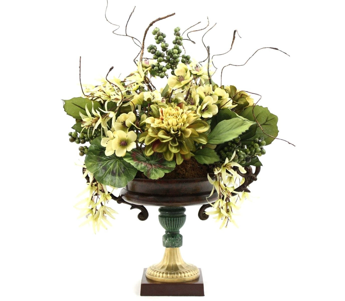 Hand made dining table centerpiece silk flower arrangement for Floral decorations for home