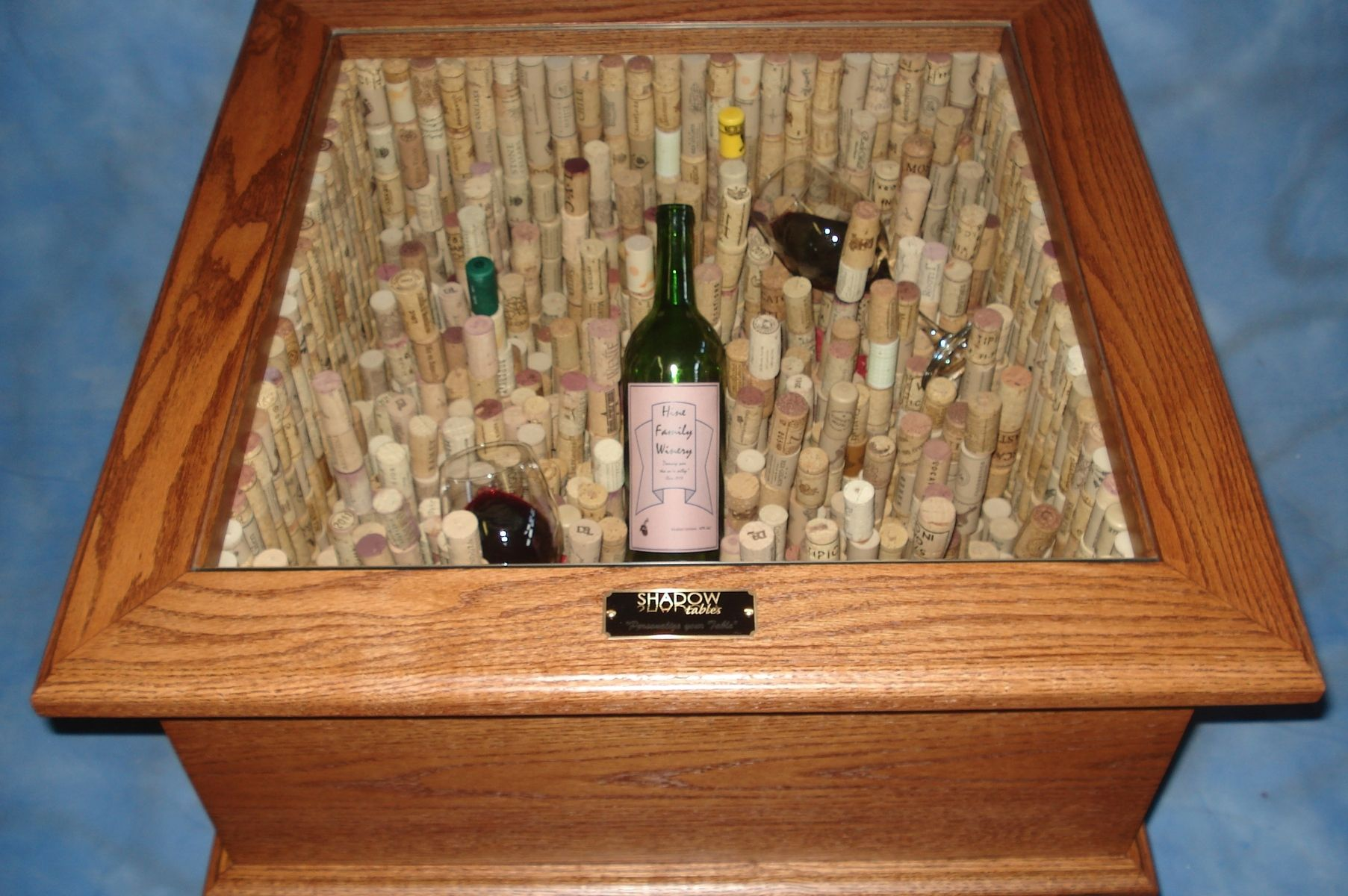 hand made taste the wine led end table with 1 300 corks
