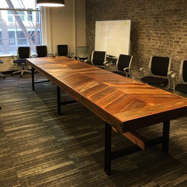 Hand Crafted Reclaimed Wood Chevron Conference Table By