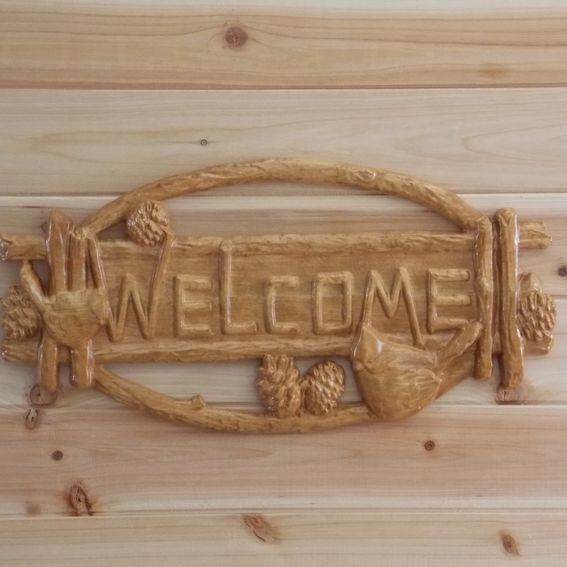 Hand made welcome sign wood birds maple hardwood rustic