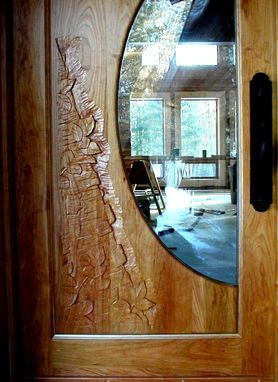 Custom Made Birch Carving On Cherry Door