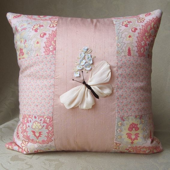 Hand crafted butterflies pillow covers in silk ribbon