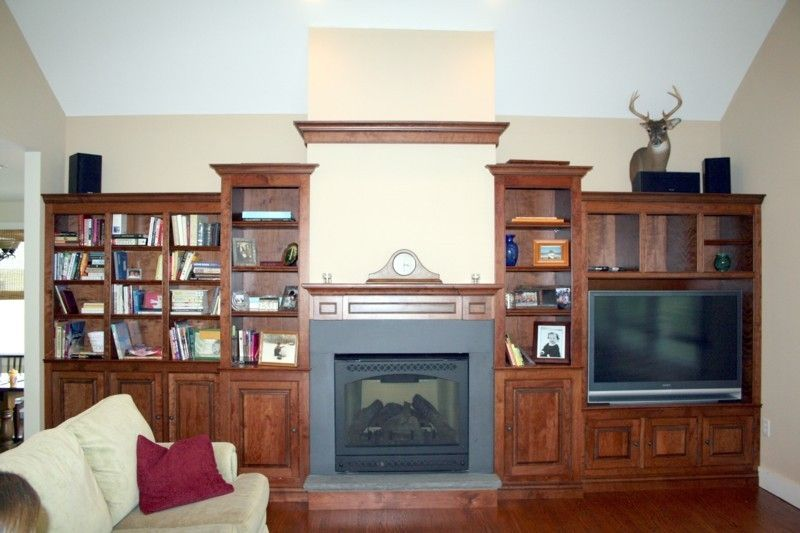 hand made traditional cherry wall unit and fireplace by