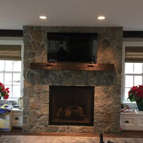 In Stock: Fireplace Mantel Of Two Joined Beams