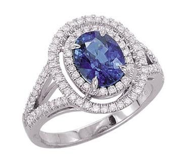 Custom Made 18kt White Gold Sapphire & Diamond Ring