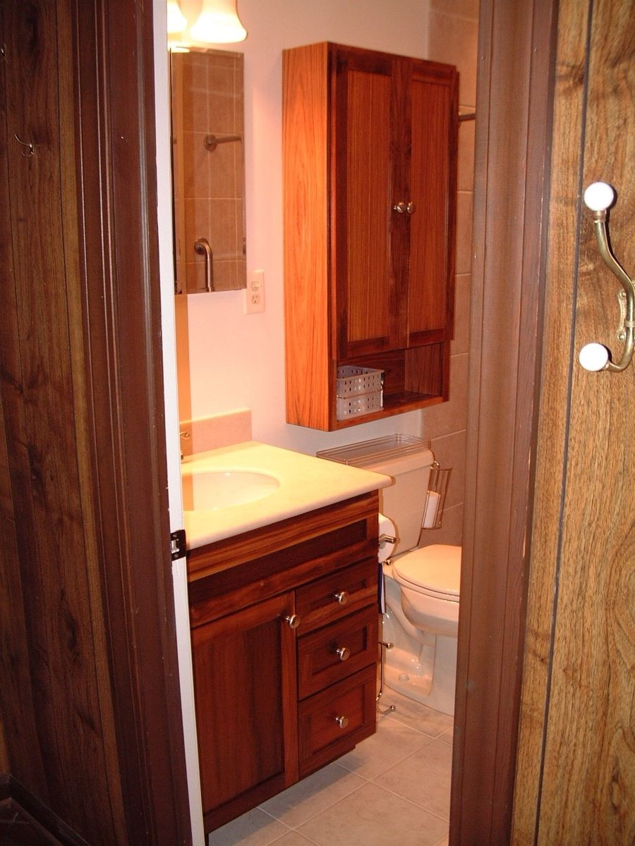 Handmade custom bathroom vanity and wall cabinet bs by councell craftsman for Custom made bathroom cabinets